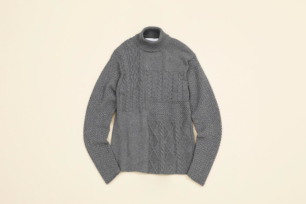 White Mountaineering<br>Patchwork High Neck Knit